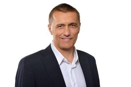 bel homme: Portrait de Handsome d'affaires sur un fond blanc Banque d'images