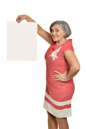old ladies: Senior woman with hands up and white blank Stock Photo
