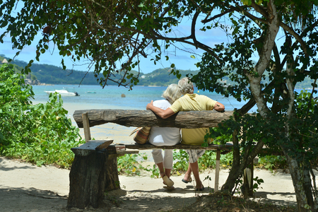 old couple: Happy elderly couple rest at tropical resort