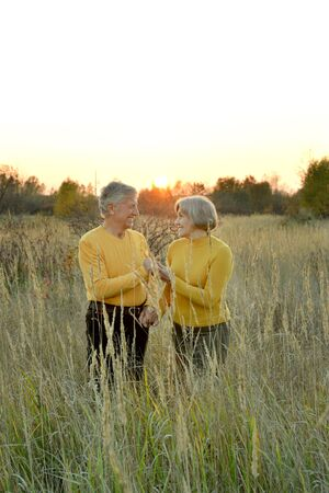 beauteous: Beauteous old couple in the middle of the field