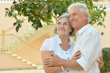 fresh air: Happy Mature couple enjoy fresh air and stunning view on vacation Stock Photo