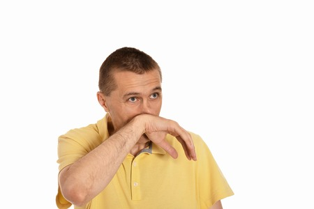 snot: Man wiping snot by his hand on a white background
