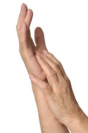 masajes relajacion: Masaje de la mano de cerca sobre un fondo blanco