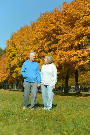 dult: Happy amusing senior couple in autumn park Stock Photo