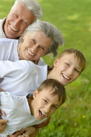 grandparents family: Two boys with their grandparents on a meadow in summer