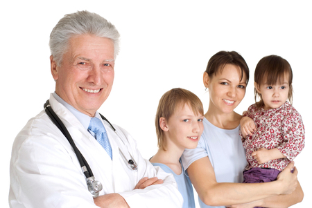 patient's history: Nice doctor in a white coat with a stethoscope and patients