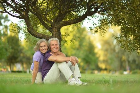 Happy Mature couple in the park in summer da