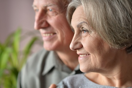 elderly adults: Nice nice senior couple together at home