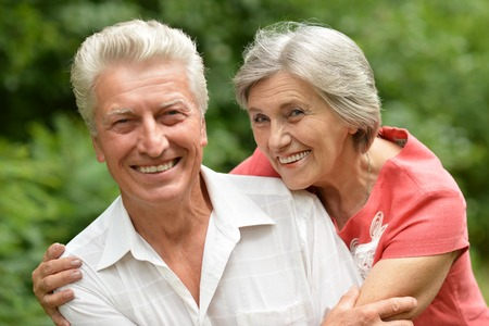 older age: Portrait of a happy elder couple in summer
