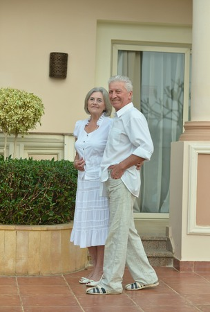 fresh air: Happy Mature couple in love enjoy fresh air and stunning view on vacation Archivio Fotografico