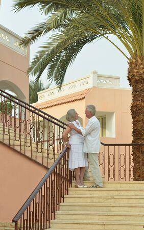 fresh air: Happy Mature couple enjoy fresh air on vacation