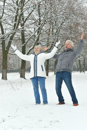 couple winter: Portrait of elderly couple having fun outdoors in winter forest