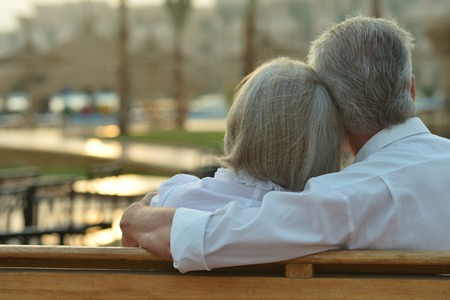 fresh air: Happy Mature couple enjoy fresh air and stunning view on vacation Archivio Fotografico