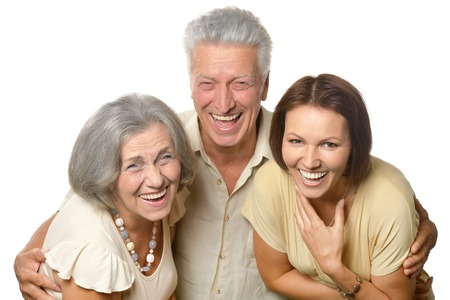 mamma: Happy senior parents with daughter on white background