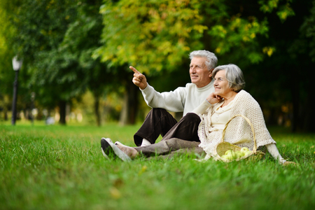 happy senior couple: Beautiful caucasian elderly couple in the park in autumn