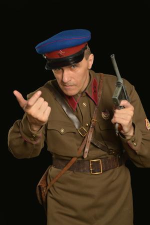 commander: Portrait of a colonel commander with a gun Stock Photo