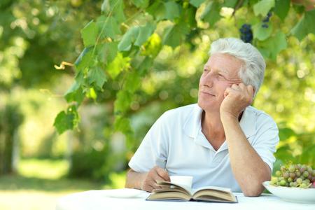 hombres maduros: Apuesto hombre mayor sentado en una mesa en su casa en la terraza con el libro