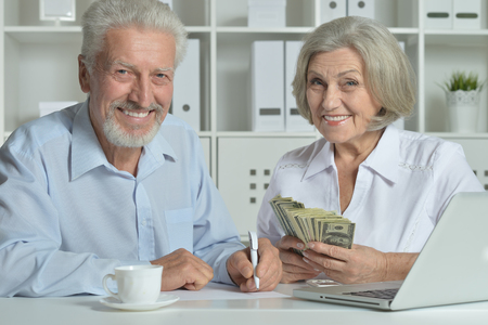 happy senior couple with laptop and money in office