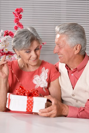 gift spending: Portrait of a happy senior couple spending time together with gift