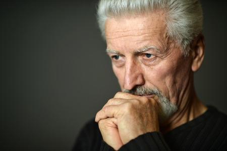 elderly man: Portrait of Sad senior man at home Stock Photo