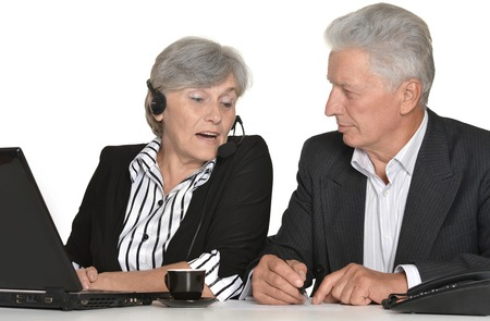 european people: portrait of older people working on a white background