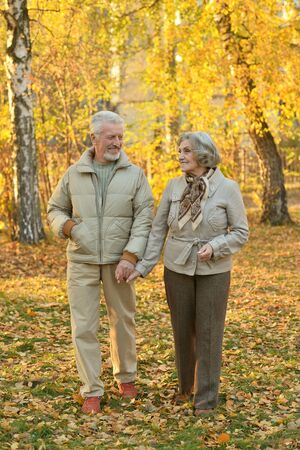 active senior: happy beautiful Senior couple in autumn park Stock Photo