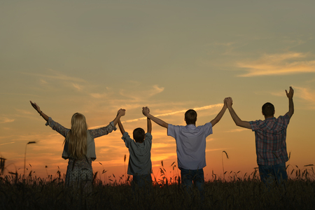 female child: Family holding hands looking at sunset in field Stock Photo