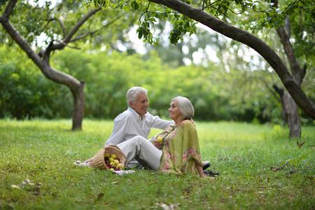 parejas felices: Divertido retrato de pareja de ancianos en comida campestre