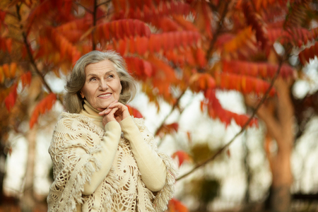 Portrait of senior woman in the park in autumn Stock Photo