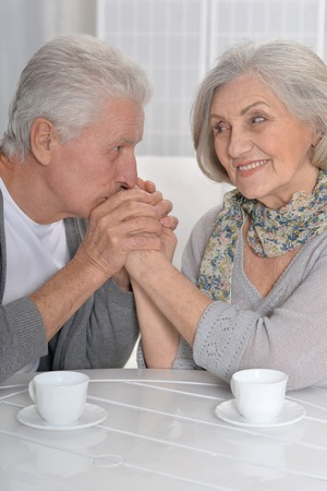 amiable: Portrait of a happy Senior couple drinking tea