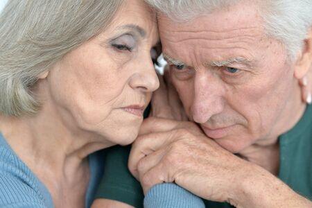 amiable: Portrait of a melancholy senior couple close up Stock Photo
