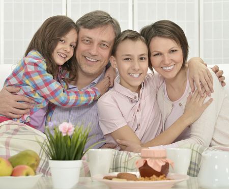 family  room: Portrait of a happy family  in room Stock Photo