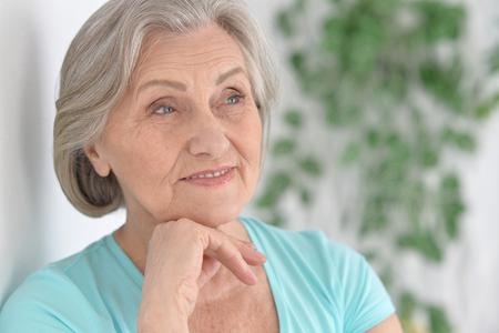 amiable: Portrait of a happy senior woman  close up
