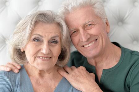 amiable: Portrait of a happy senior couple close up