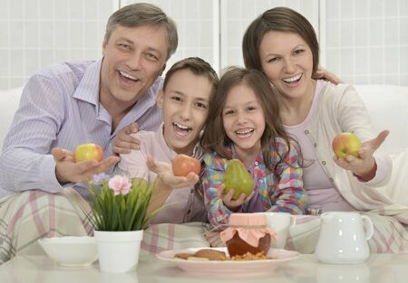 family  room: Portrait of a Happy family in a room