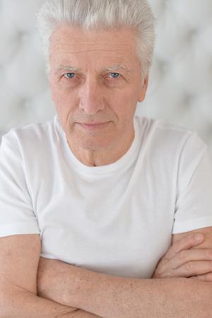 face close up: Portrait of a senior man face close up Stock Photo