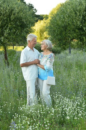 couples outdoors: Portrait of a nice mature couple in spring park Stock Photo