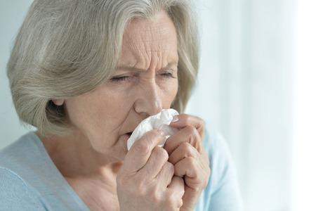 amiable: Portrait of a ill senior woman close up Stock Photo