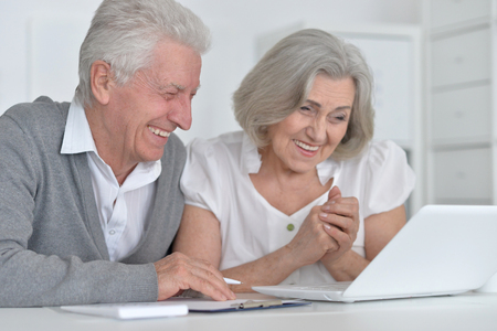 Portrait of a happy senior couple working with laptop Stock Photo