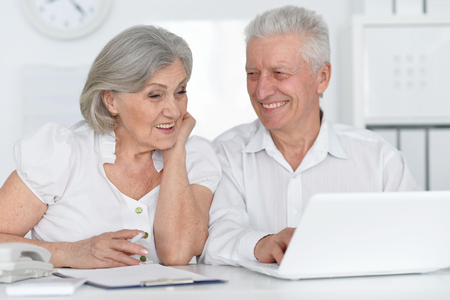 amiable: Portrait of a senior couple working with laptop