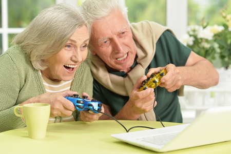 Portrait of a happy senior couple playing video game Stock Photo