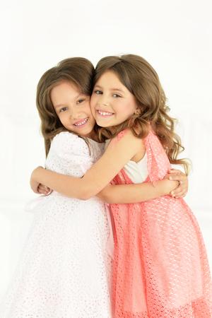 preadolescent: Portrait of a of cute little girls posing