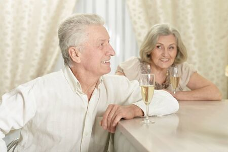Portrait of a happy senior couple with champagne at home Stock Photo