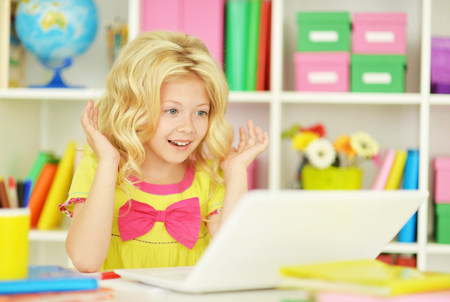 Cute  student girl  with books and laptop at class