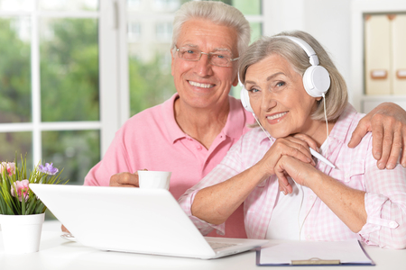 Senior couple portrait with laptop at home Stock Photo
