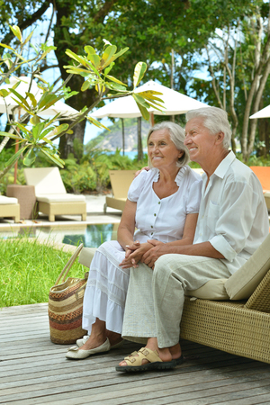 to have: Senior couple have fun near  hotel resort