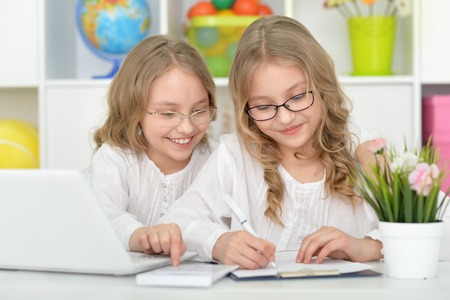 tweens: Two beautiful little girls at class with laptop Stock Photo