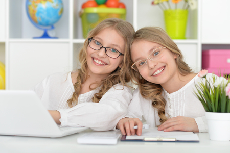 Two beautiful little girls at class with laptop Stock Photo