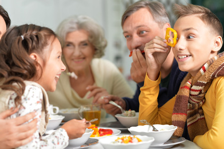 grand son: Portrait of a big happy family have breakfast todether
