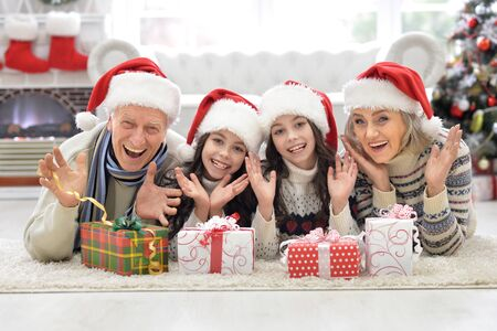 niñas gemelas: Portrait of happy grandparents with twin girls celebrating  Christmas at home